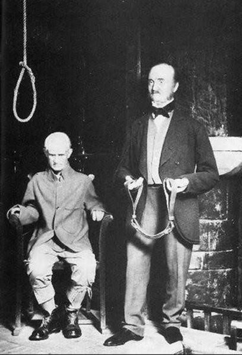 Charles Peace is depicted at Madam Tussaud's, London, with his executioner, William Marwood.