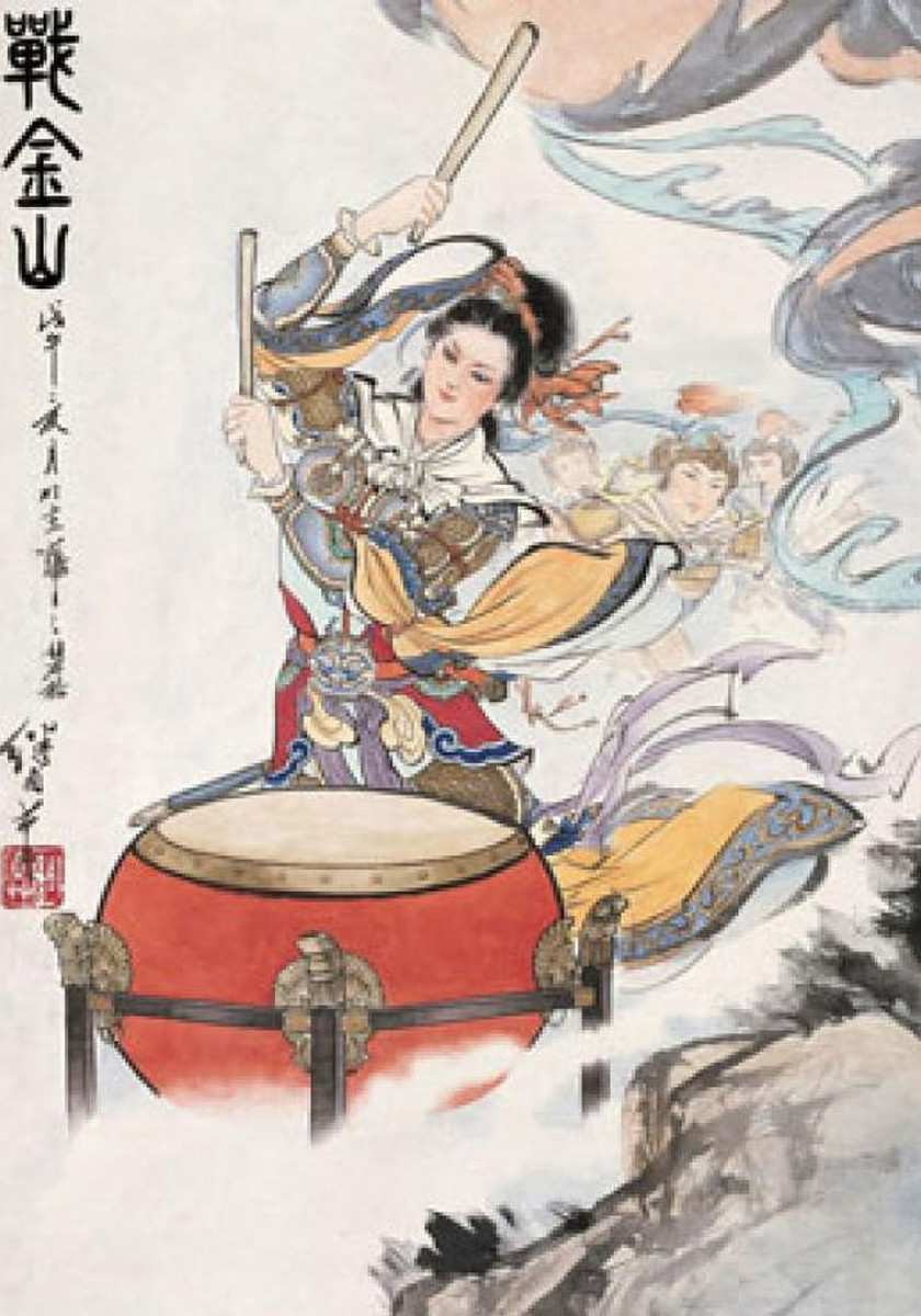 Classic depiction of Liang Hongyu beating the drums to rally Song Dynasty troops.
