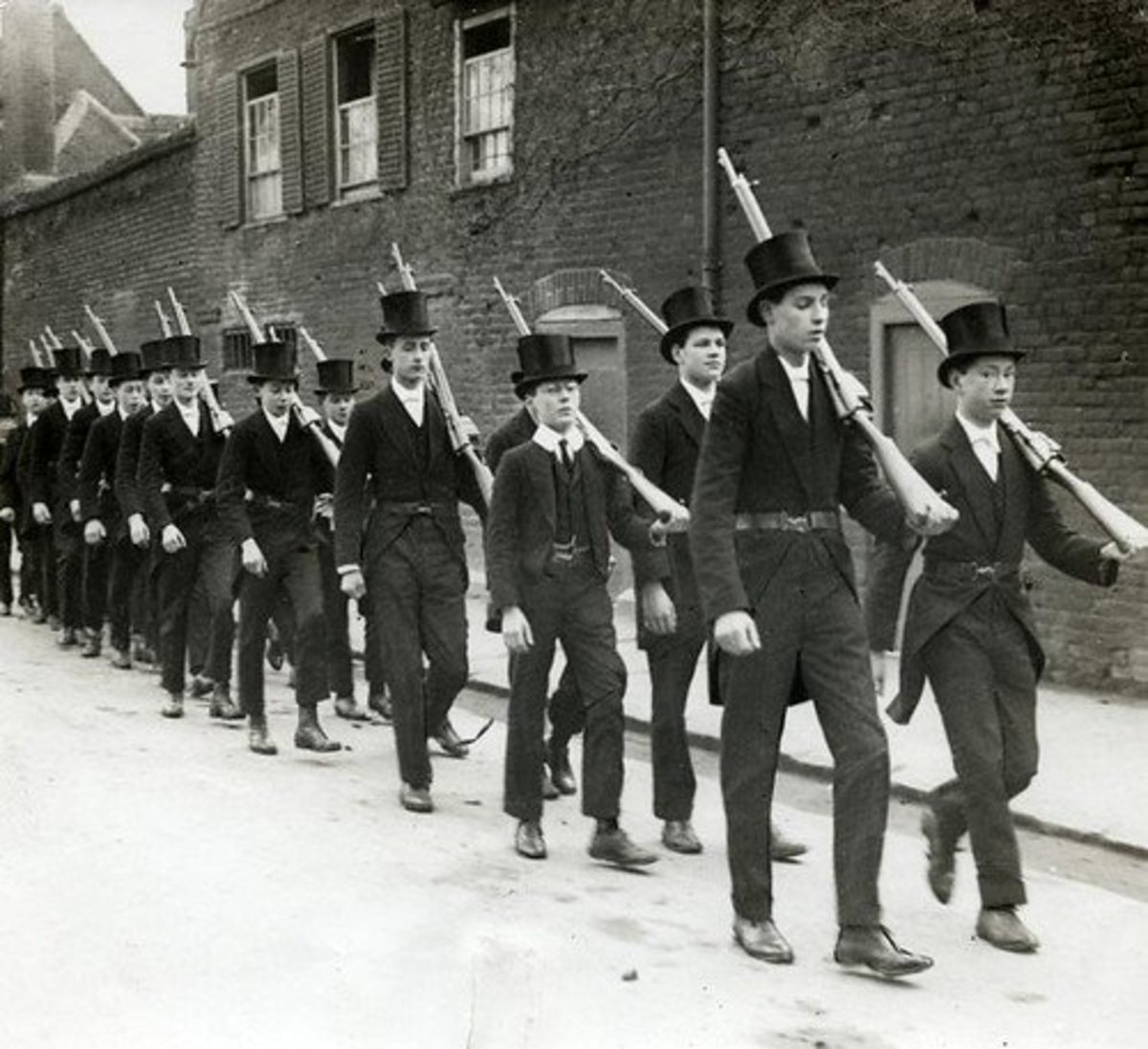 Boys from the elite Eton College, seen here drilling, paid a terrible price with 1,157 being killed; 20.5% of all from the school who enlisted.