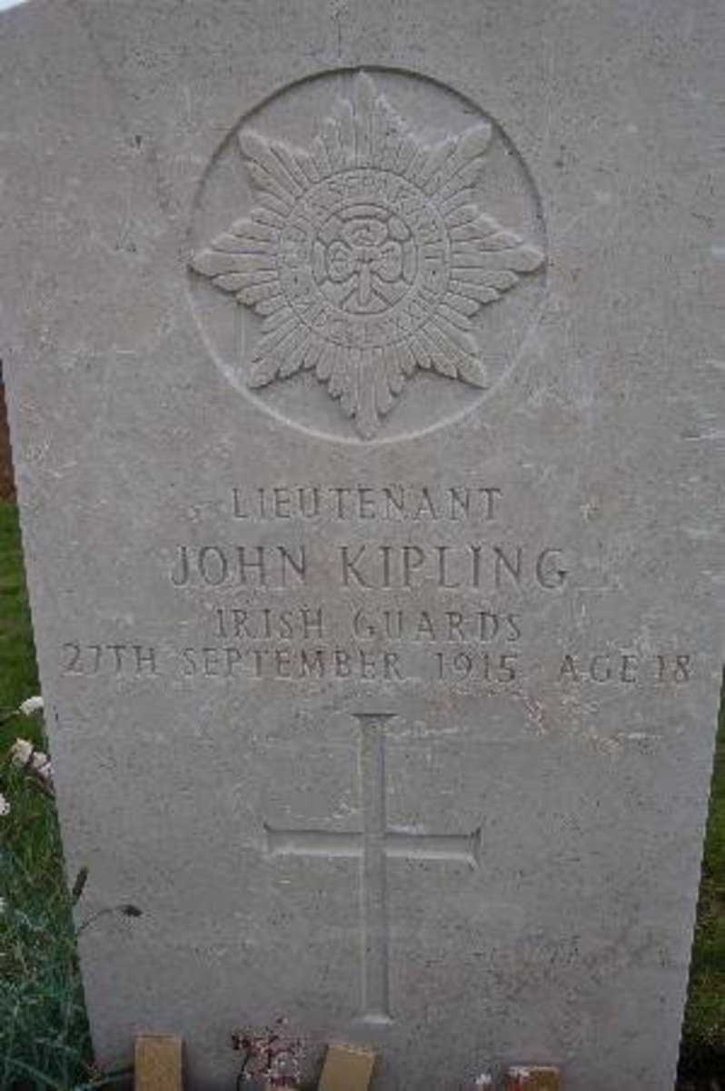 The tombstone marking a grave that may or may not contain Jack Kipling's remains.