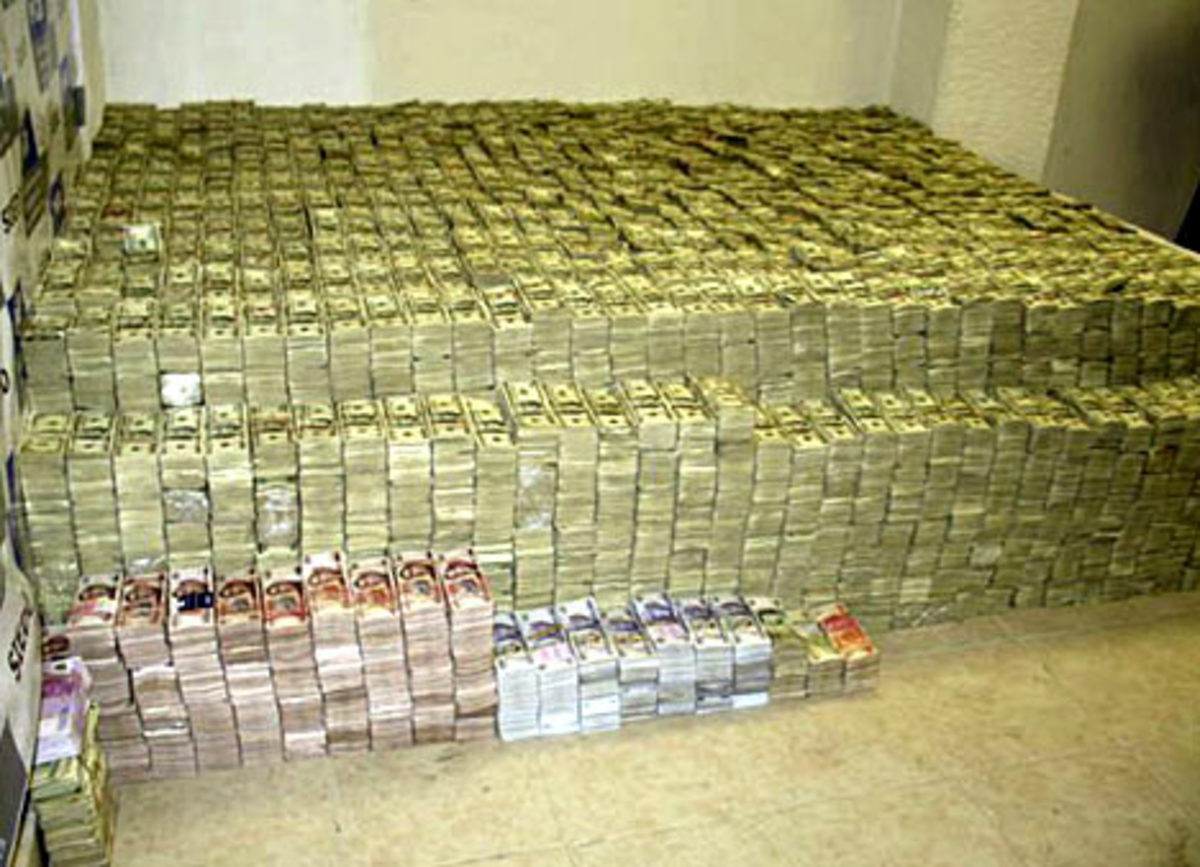 $207 million in U.S. currency was seized from a Mexican drug cartel in 2007.