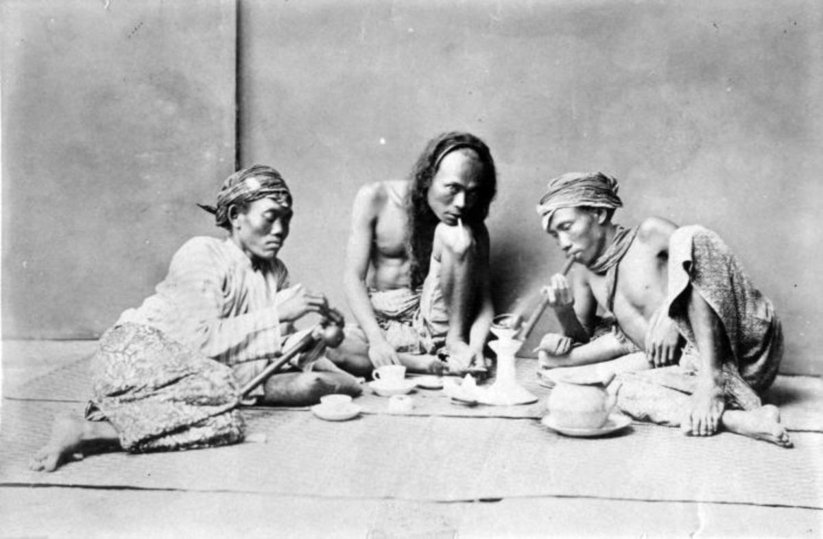 Opium addicts in Indonesia.