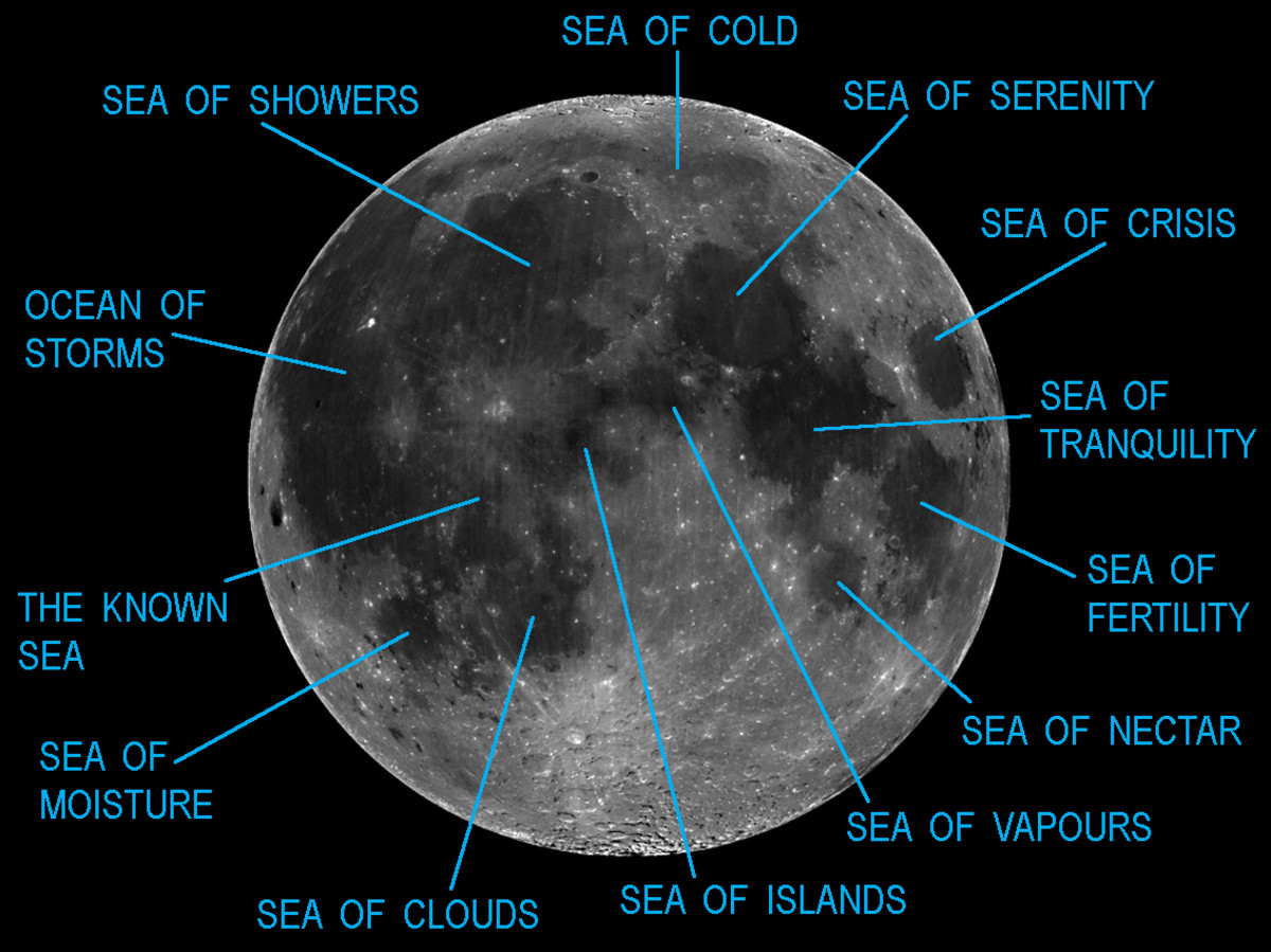 This map is annotated with most of the major Mares or 'Seas' on the Moon. The most prominent of these will be briefly described in the text below