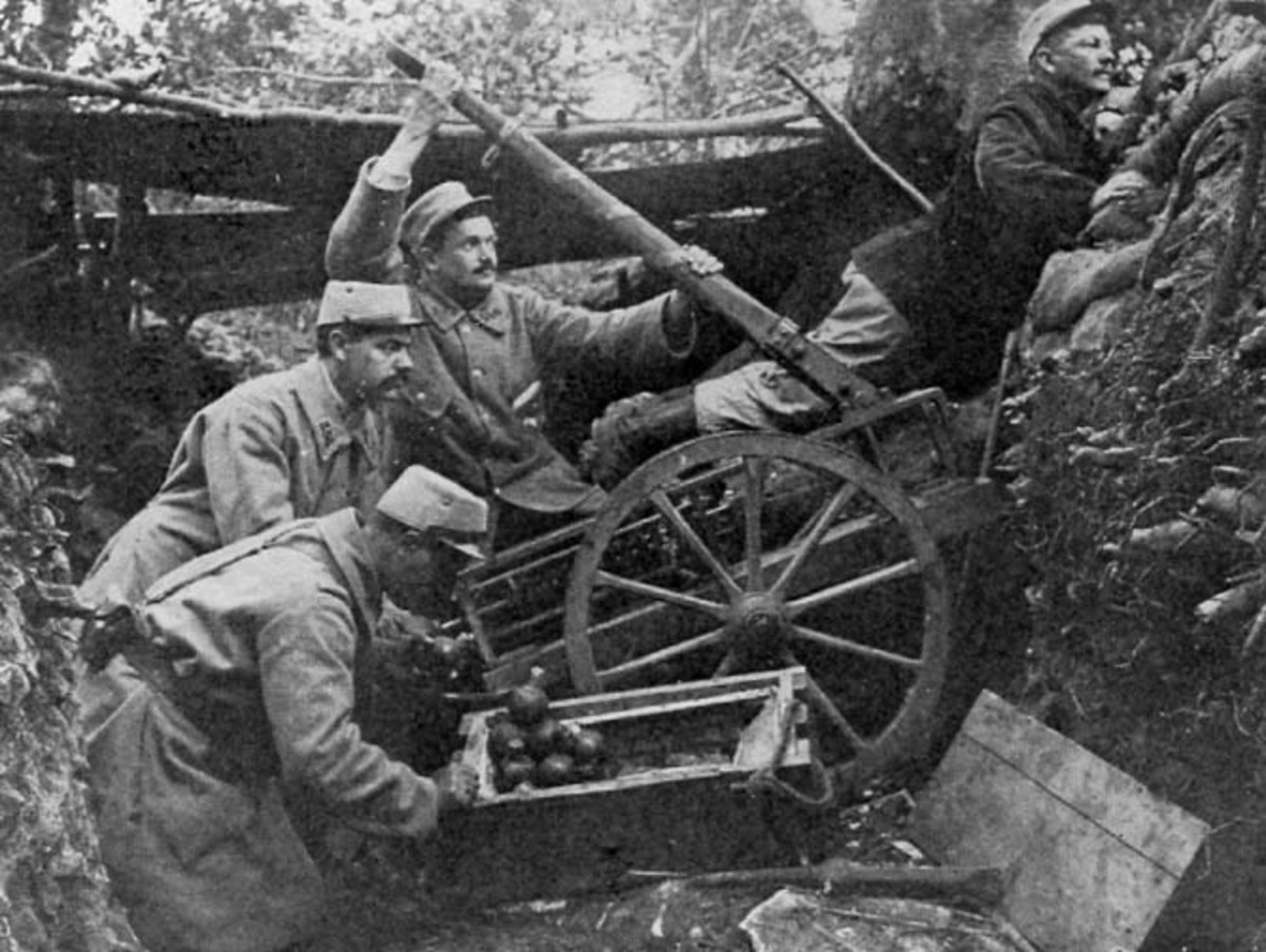 French soldiers using a grenade catapult.