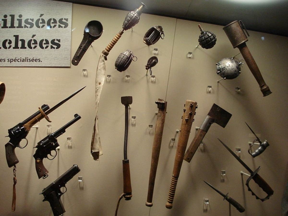 Trench weapons used by British and Canadian soldiers in WWI on display at the Canadian War Museum in Ottawa.