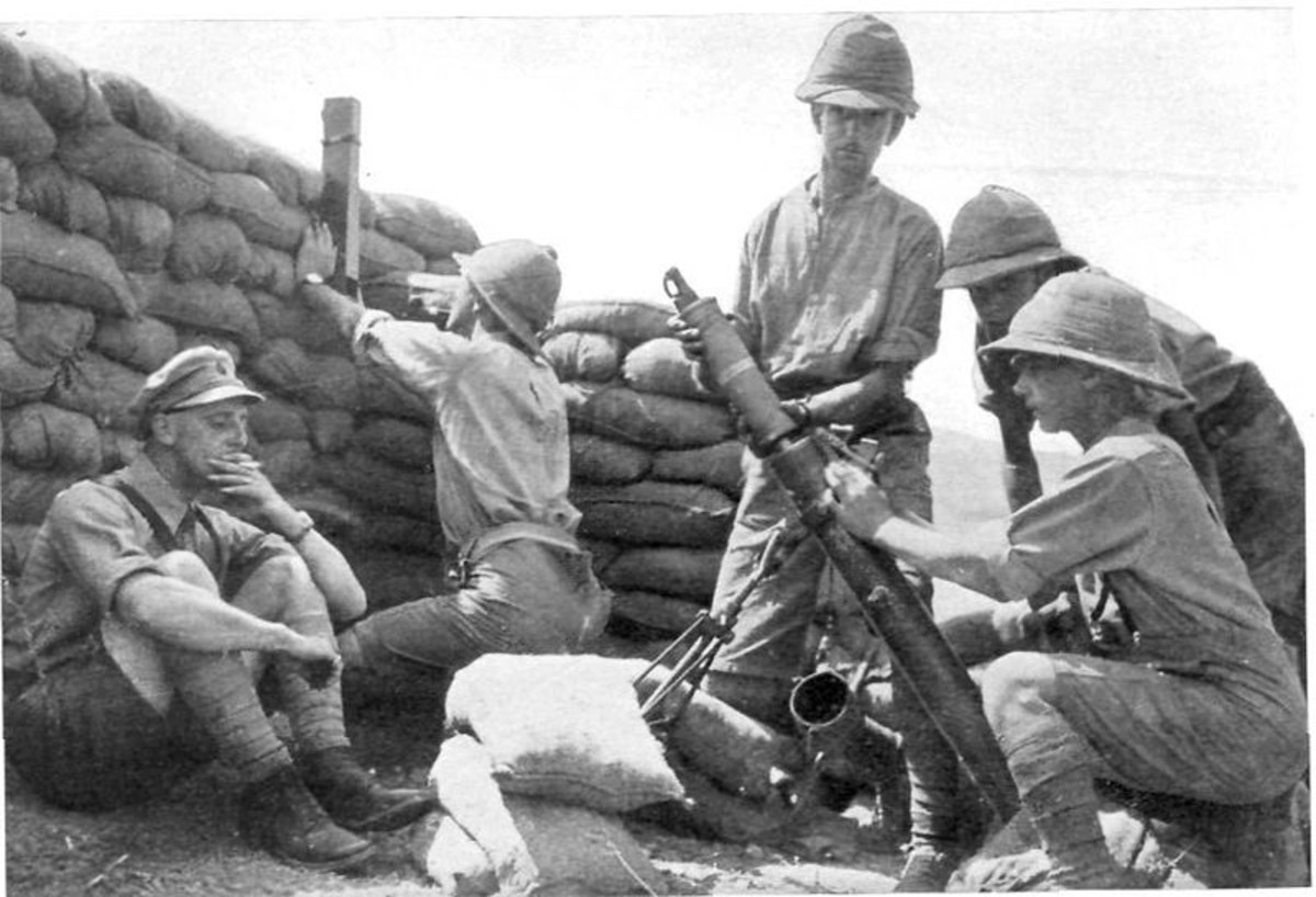 Photograph of British troops loading Stokes mortar, in a sandbagged emplacement. Clothing and headgear indicates somewhere in the Middle East. circa. 1916-1917