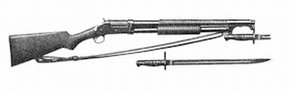 World War I: Model 97 Trench Gun showing bayonet and sling.
