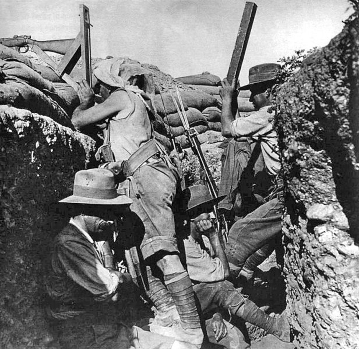 Australian using a periscope rifle at Gallipoli, 1915.