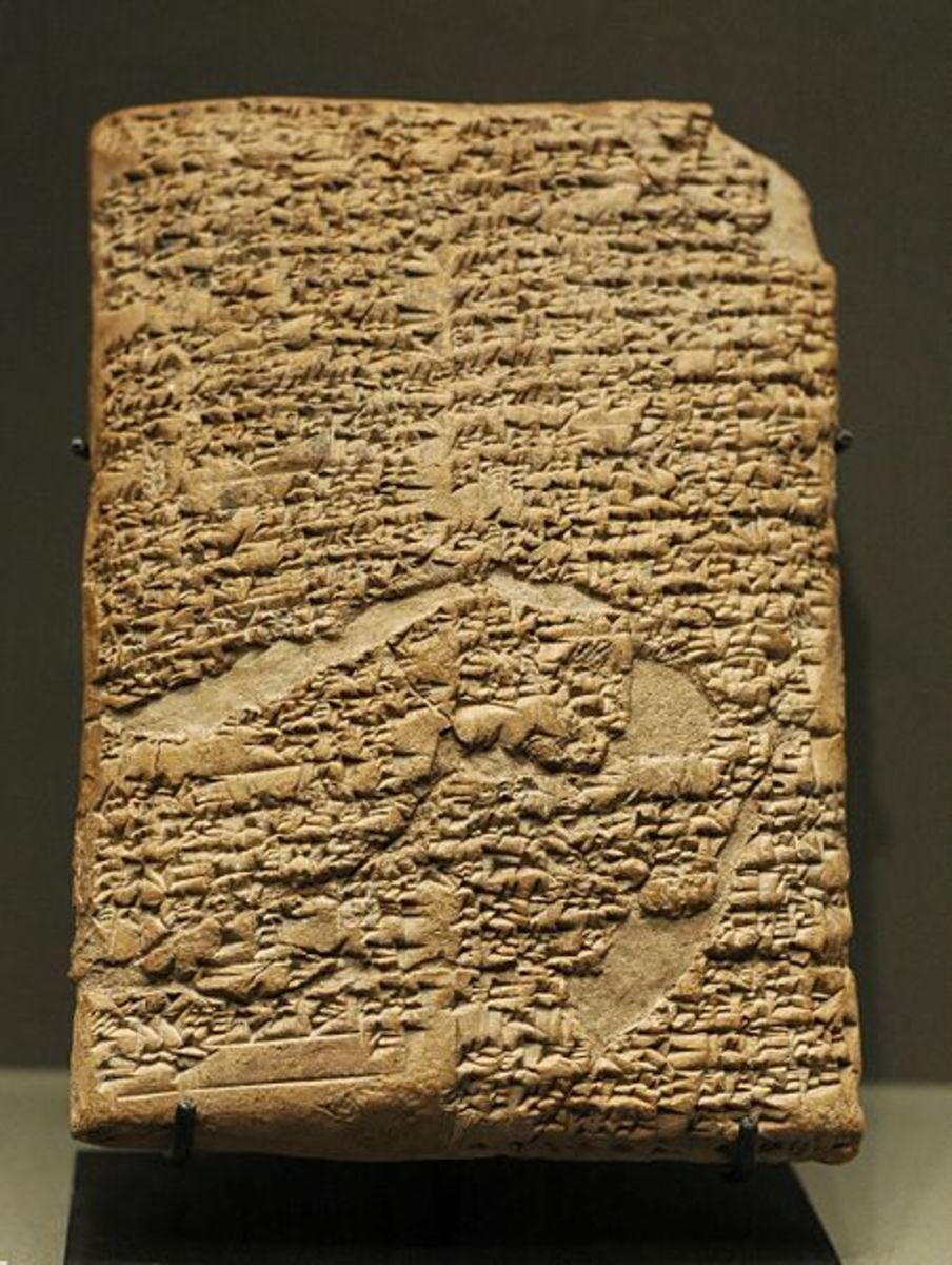 The Babylonian law code devised by Hammurabi on a clay tablet