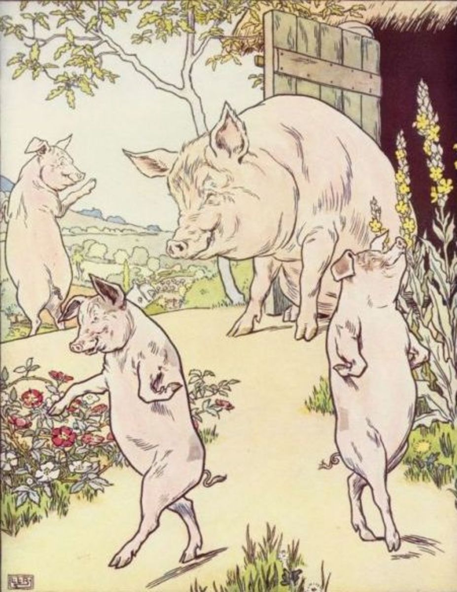 "An illustration by L. Leslie Brooke from a version of ""The Three Little Pigs"" published in 1905."