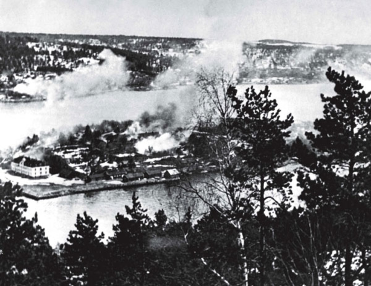 WW2: The Main Fort of the Norwegian Oscarsborg Fortress, at the approaches to Oslo, under attack from Luftwaffe bombers on 9 April, 1940