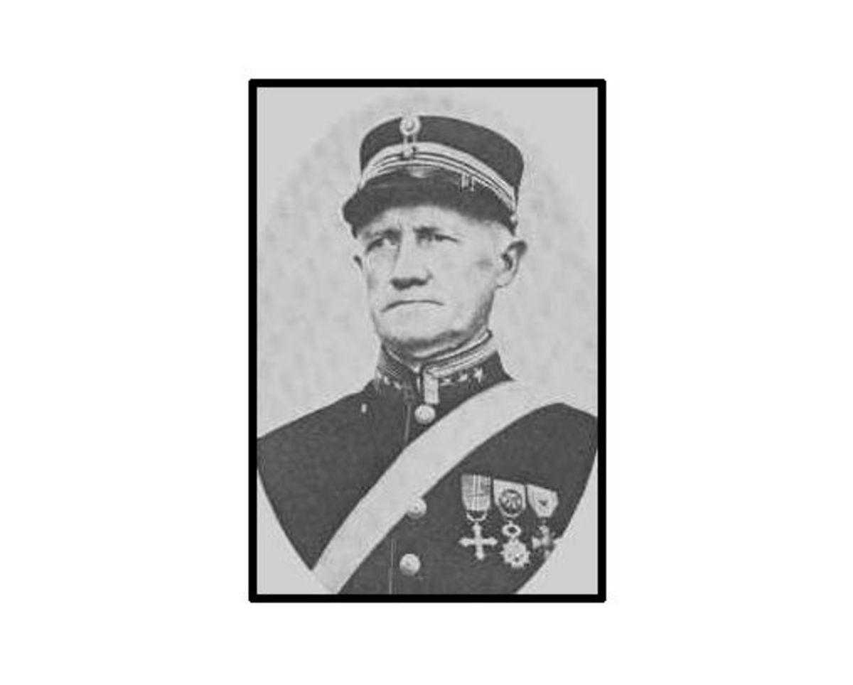 Portrait of Norwegian coastal artillery commander Colonel Birger Kristian Eriksen. Circa 1946.