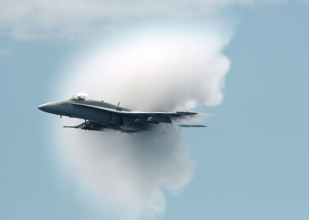 Sometimes sonic booms are visible: the high pressure area can cause water vapour to condense, briefly forming a cloud around the plane.