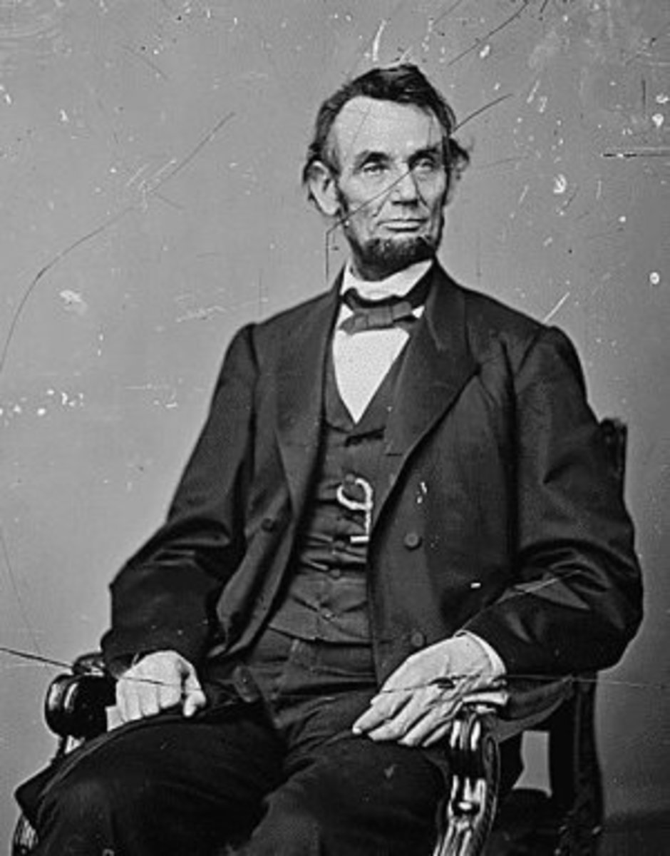 Photo of Lincoln Shows Watch Chain in Vest Buttonhole.