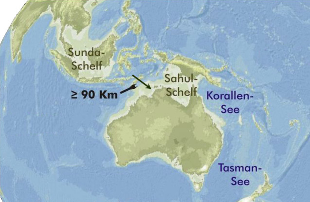 This map shows Australia and the extent to which sea levels dropped during the ice age. During the ice age,  Australia and New Guinea were joined by a land-bridge. The 90 km sign indicates the possible sea route taken by humans originating from Timor