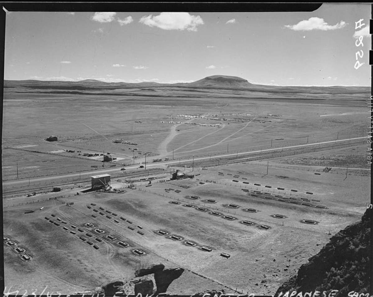 WW2: Tule Lake Relocation Center under construction near Newell, California. April 23, 1942.
