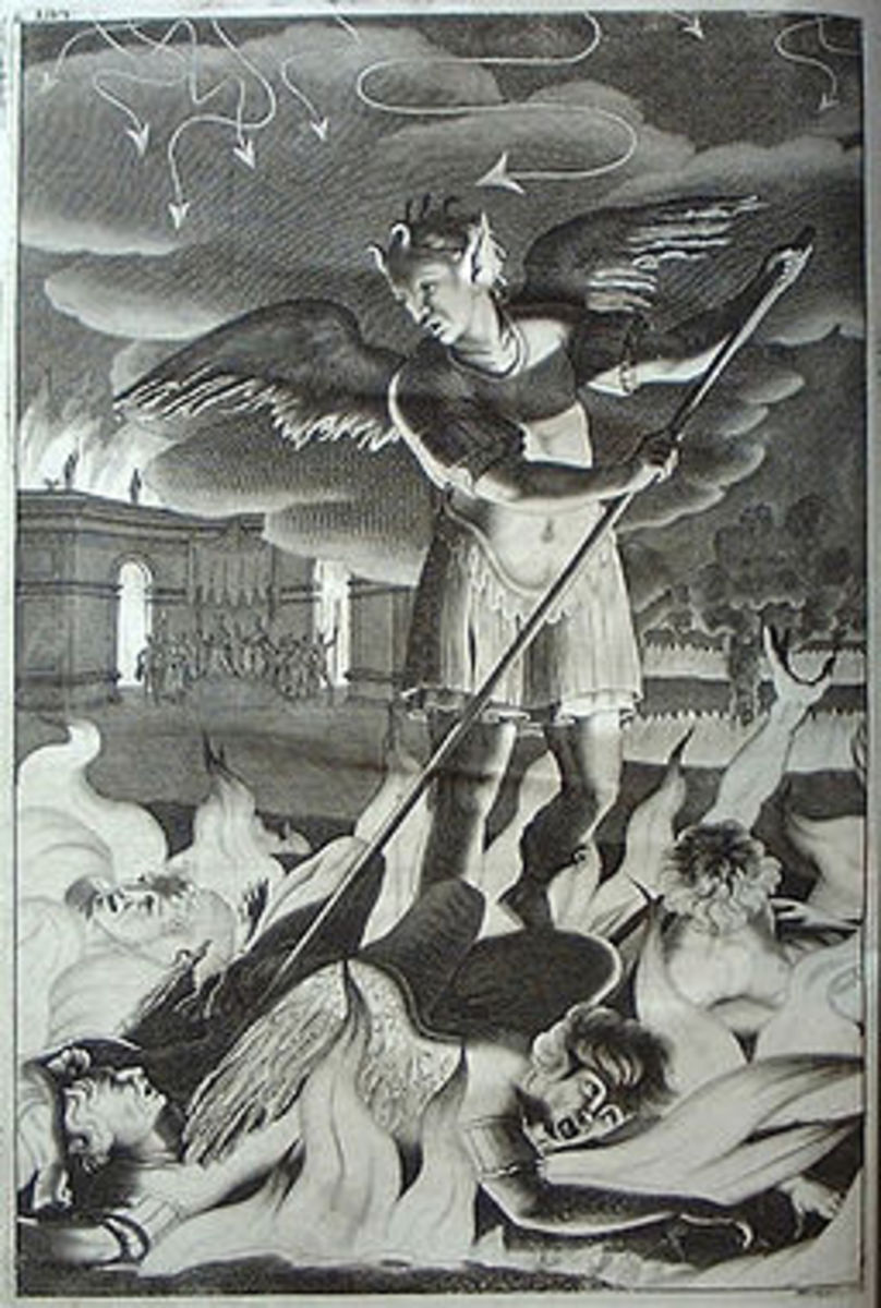 Engraving by Michael Burgesse after John Baptist Medina. Illustration to Book 1 of Paradise Lost, by John Milton.