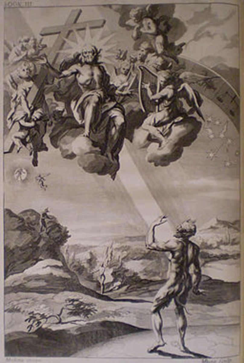 Engraving by Michael Burgesse after John Baptist Medina. Illustration to Book 3 of Paradise Lost, by John Milton.