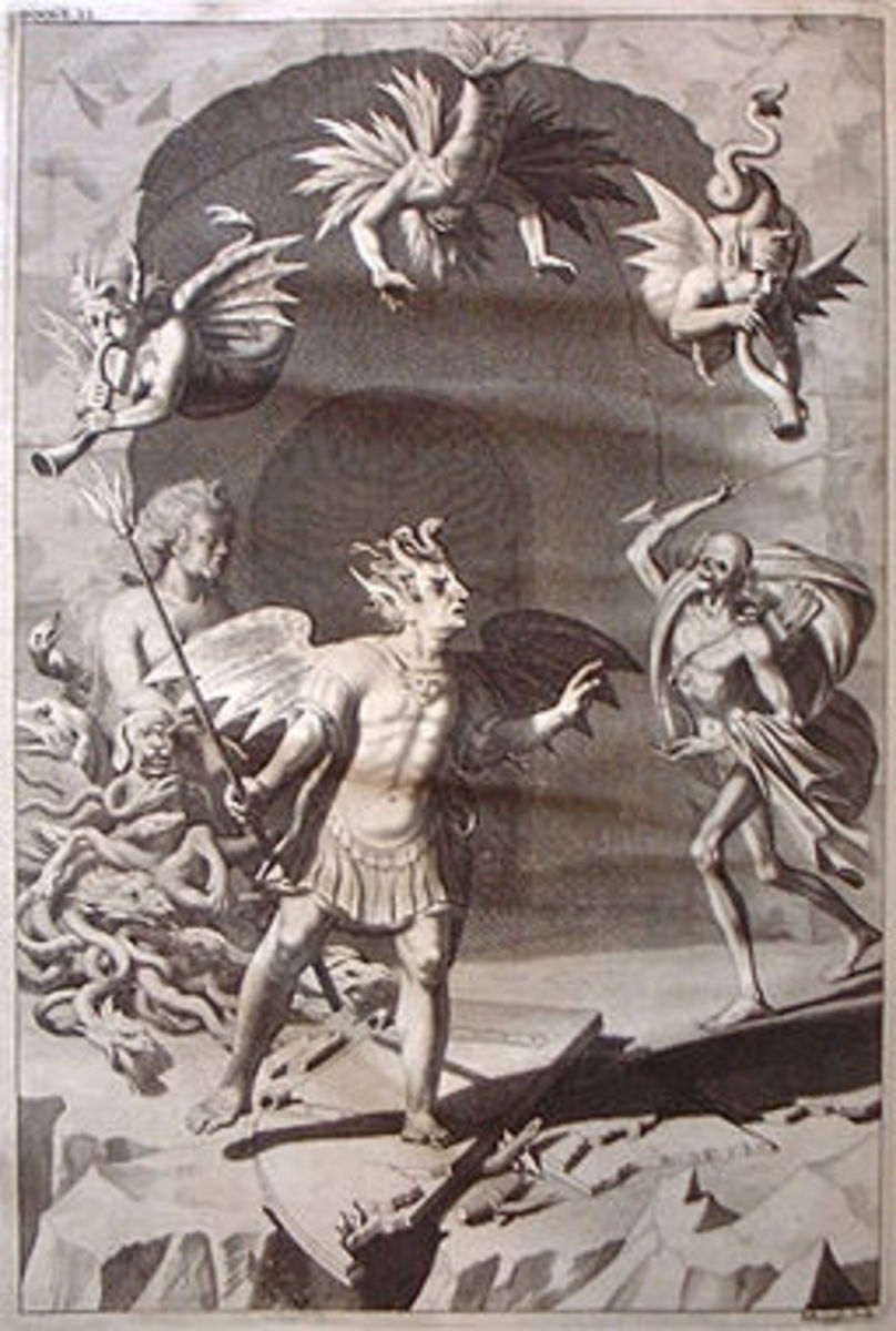 Engraving by Michael Burgesse after John Baptist Medina. Illustration to Book 2 of Paradise Lost, by John Milton.