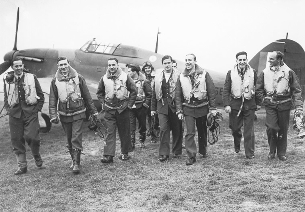 Many of the pilots flying for Britain came from occupied countries. This photo shows the men of 303 squadron- all of the pilots were Polish- men who had managed to escape Nazi occupation.