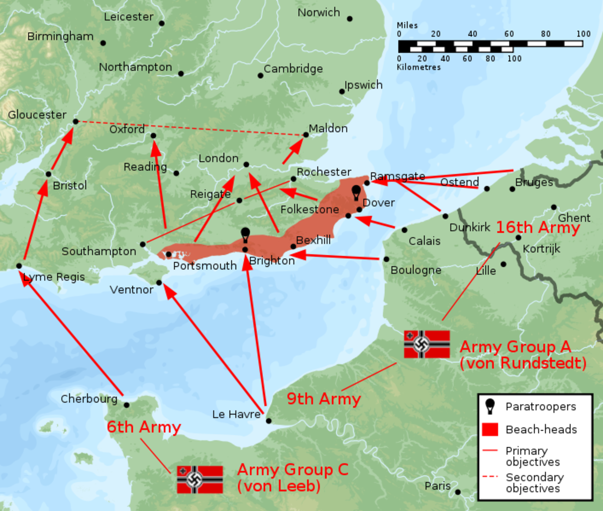 The German invasion plan shows that their primary objective was securing the Kent and Hampshire coast before striking north towards London.