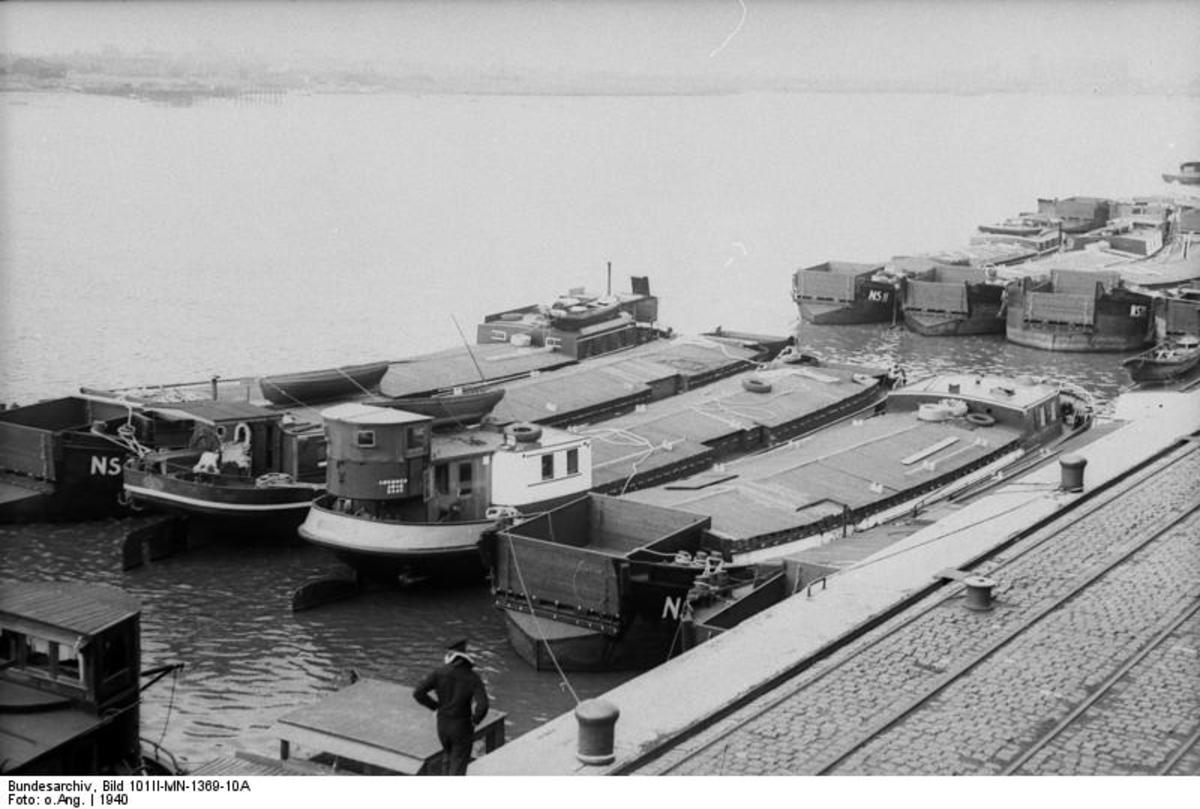 German invasion barges assembled in the German port town of Wilhelmshaven.