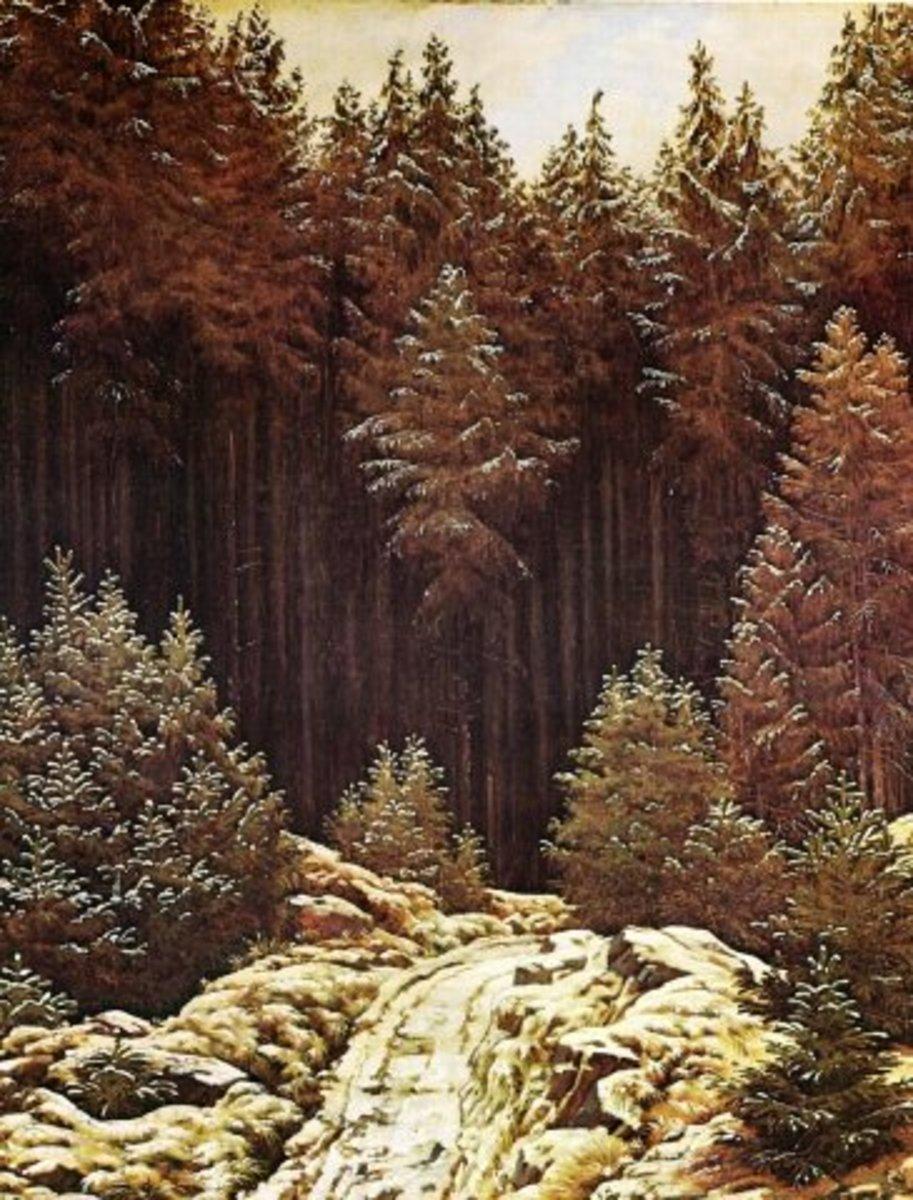 """The First Snow"" by German Romantic painter Caspar David Friedrich (1774-1840)."