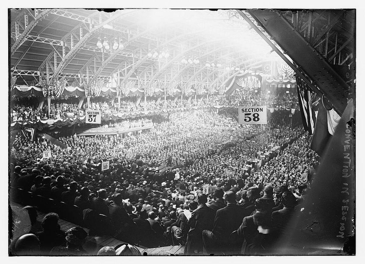 Interior of the Coliseum during the 1912 Republican National Convention.