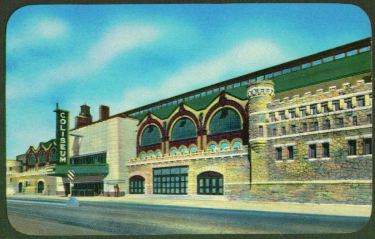 Postcard of the Chicago Coliseum from the late 1950s, showing remodeling of entryway.