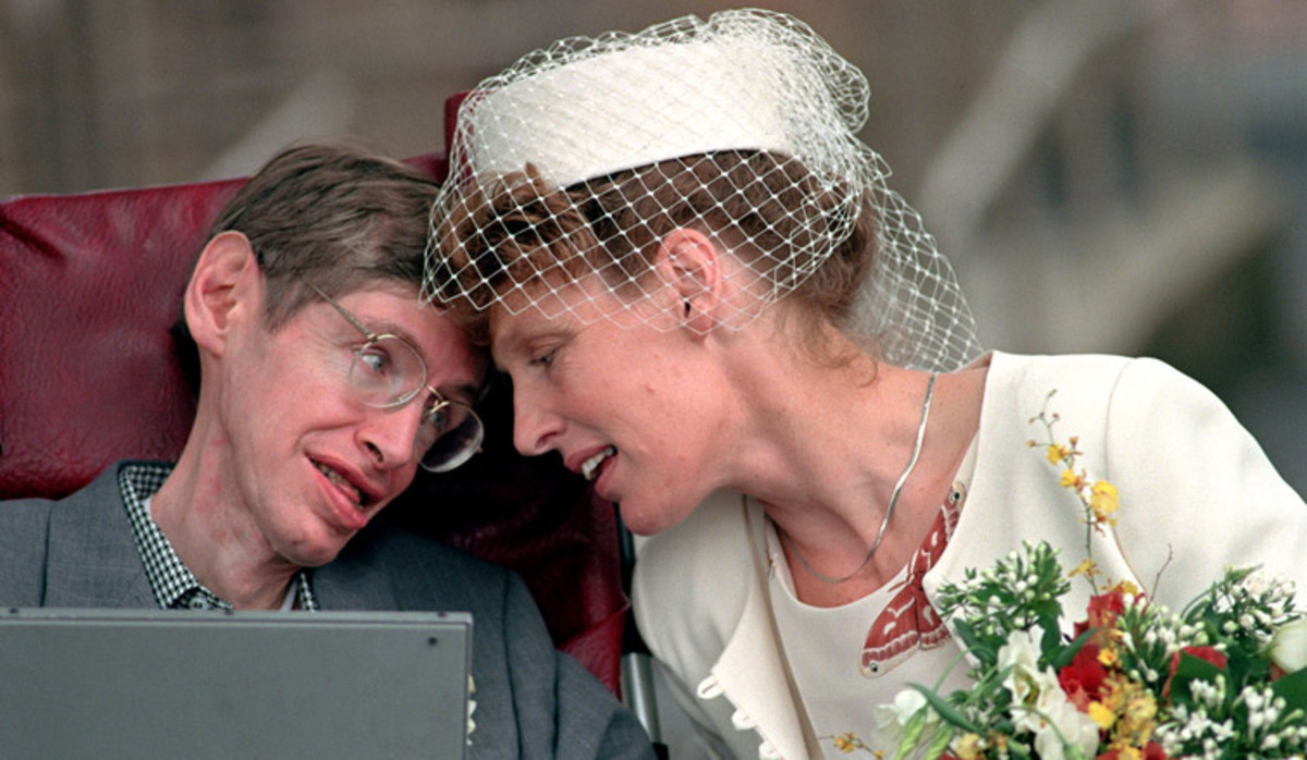 Stephen Hawking and Elaine Mason on their wedding day