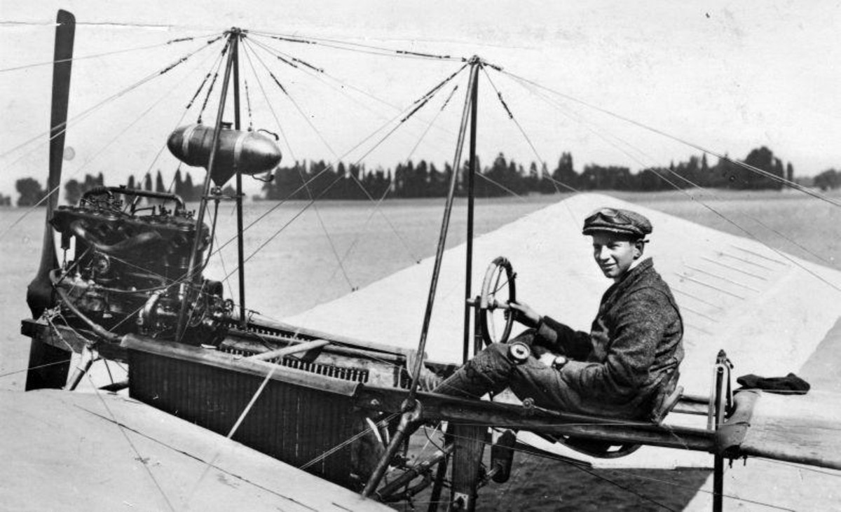 "Anthony Fokker (aproximate age 21) in his first aircraft ""de spin"" AKA ""the Spin"" or ""the Spider"". Circa 1911."