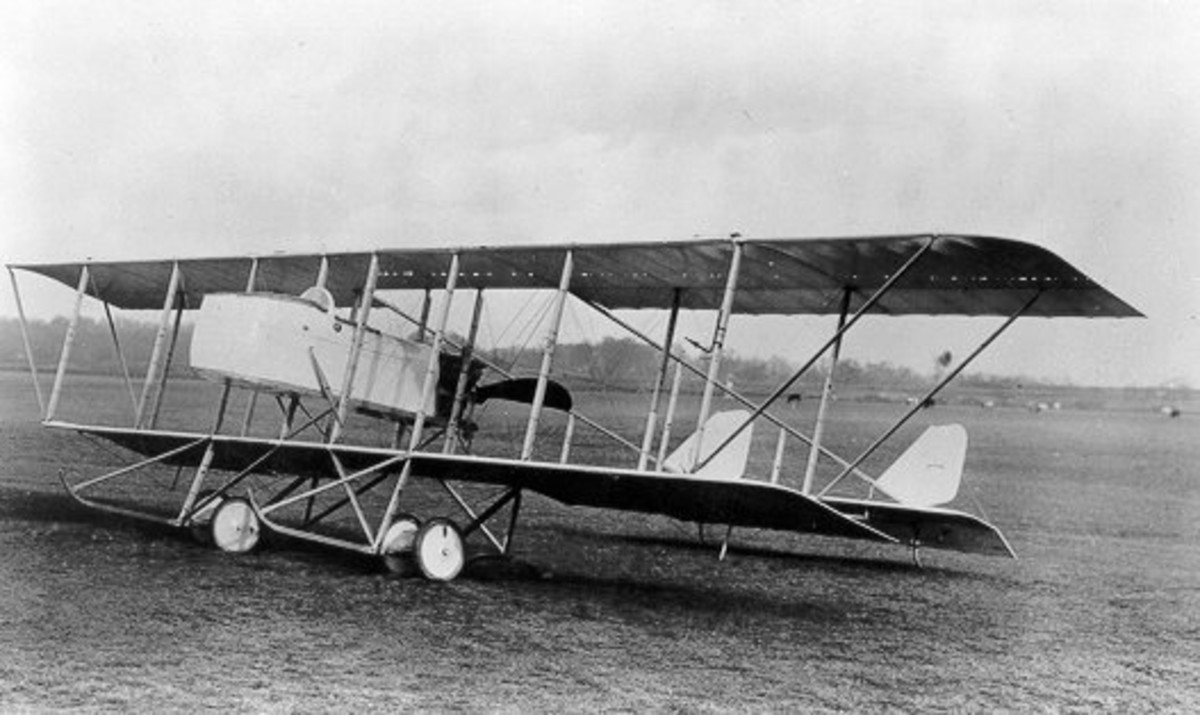 "WWI: A Maurice Farman MF 11, similar to the aircraft Anthony Fokker refused to shoot down. Note the engine in the rear (""pusher"") and lack of armament."