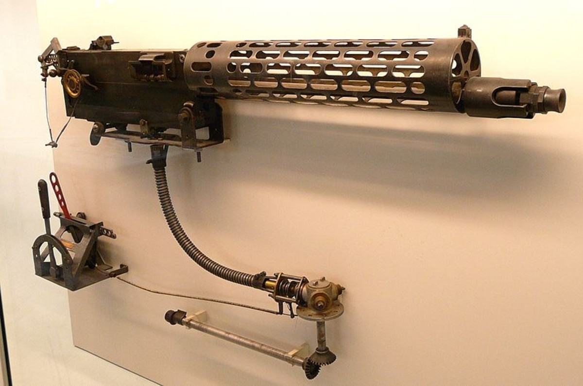 World War 1: The standard German MG 08 machine gun modified for use on fighter planes. Note the air-cooled slotted jacket, the synchronization gear and triggering assembly included below the gun.