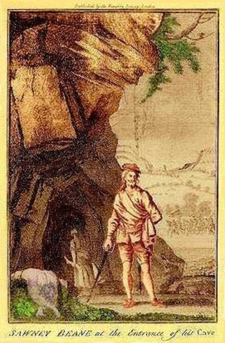 Alexander Sawney Bean at the entrance to his cave.