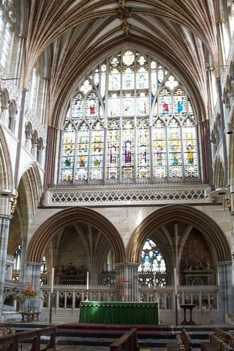 A view of the marvelous stained glass window above the altar in Exeter Cathedral, UK