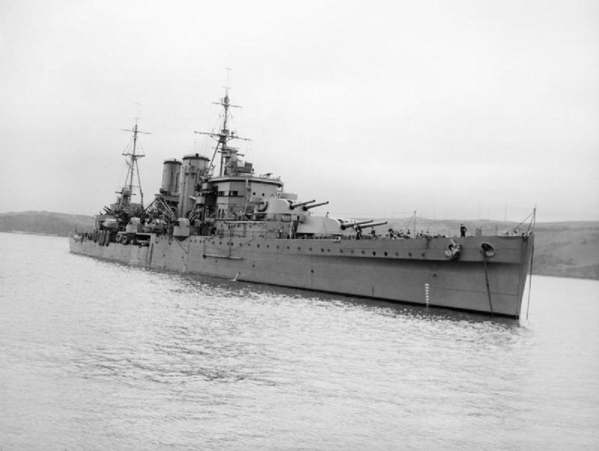HMS Exeter sails proudly along after her refit in 1941