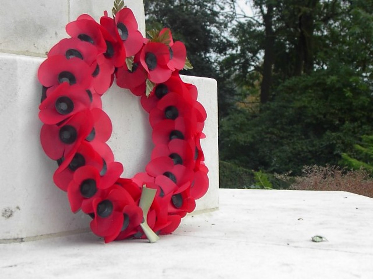 A Remembrance Day Poppy Wreath.