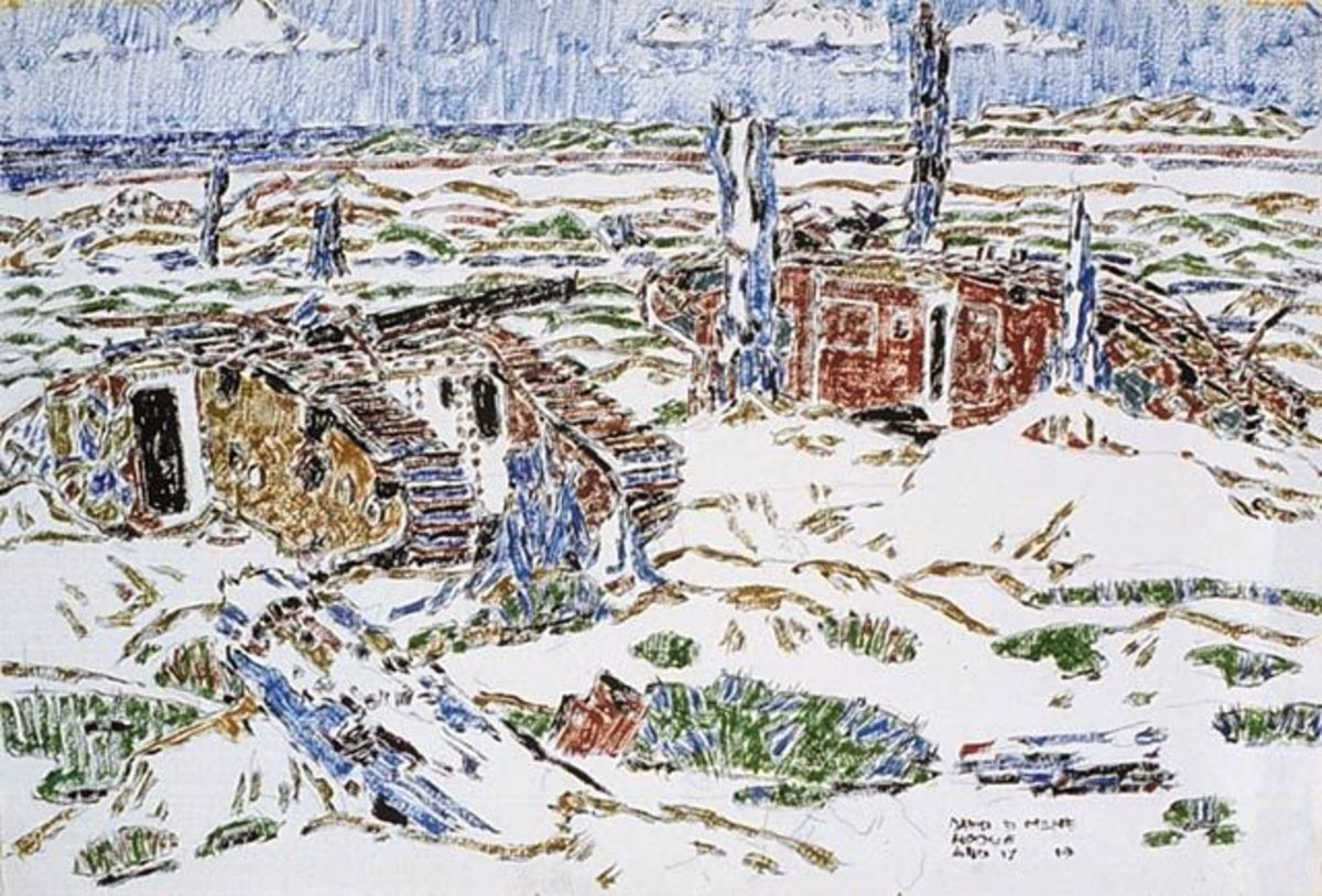 ww1: Painting of wrecked tanks in a wood. Actual title: Wrecked Tanks near Sanctuary Wood by David Brown Milne (1882-1953)