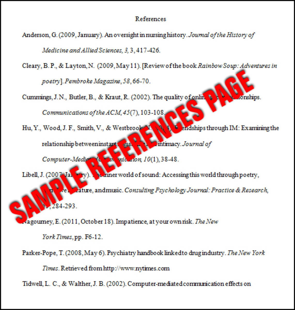 sample reference list page in apa style