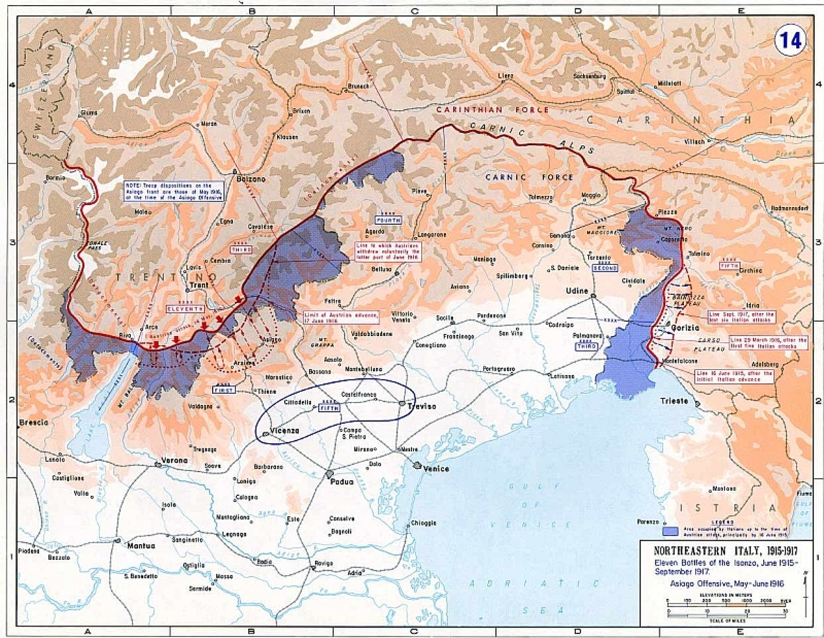 WWI: Map of the Italian Front (1915-1917). Blue areas show where major battles occurred, although the blue area in the east (right) was where 12 Battles of the Isonzo were fought.