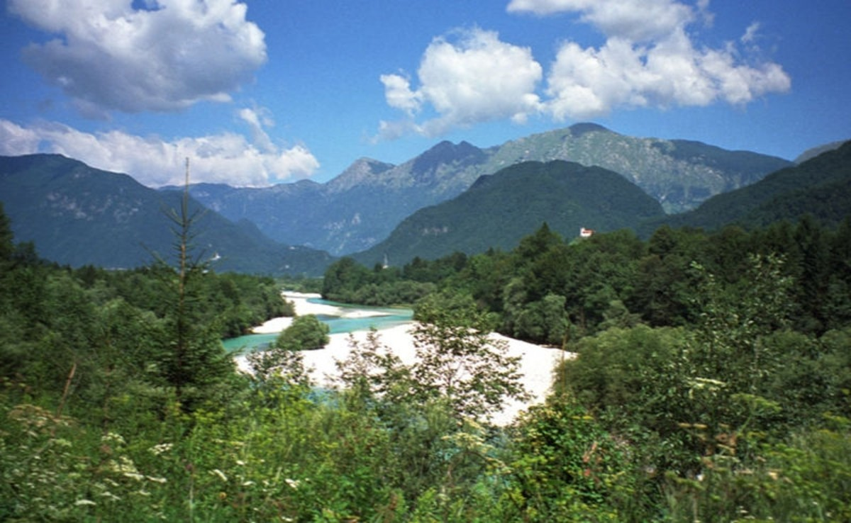 WWI: The Isonzo River near Caporetto (now part of Slovenia, known as the Soca River near Kobarid. 1997.