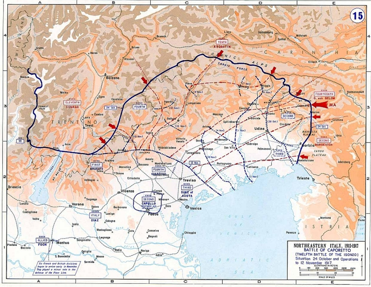 World War One: Map of the Italian Front showing the hundred mile advance of the Germans and Austrians in the Twelfth Battle of the Isonzo (also called the Battle of Caporetto) in late 1917.