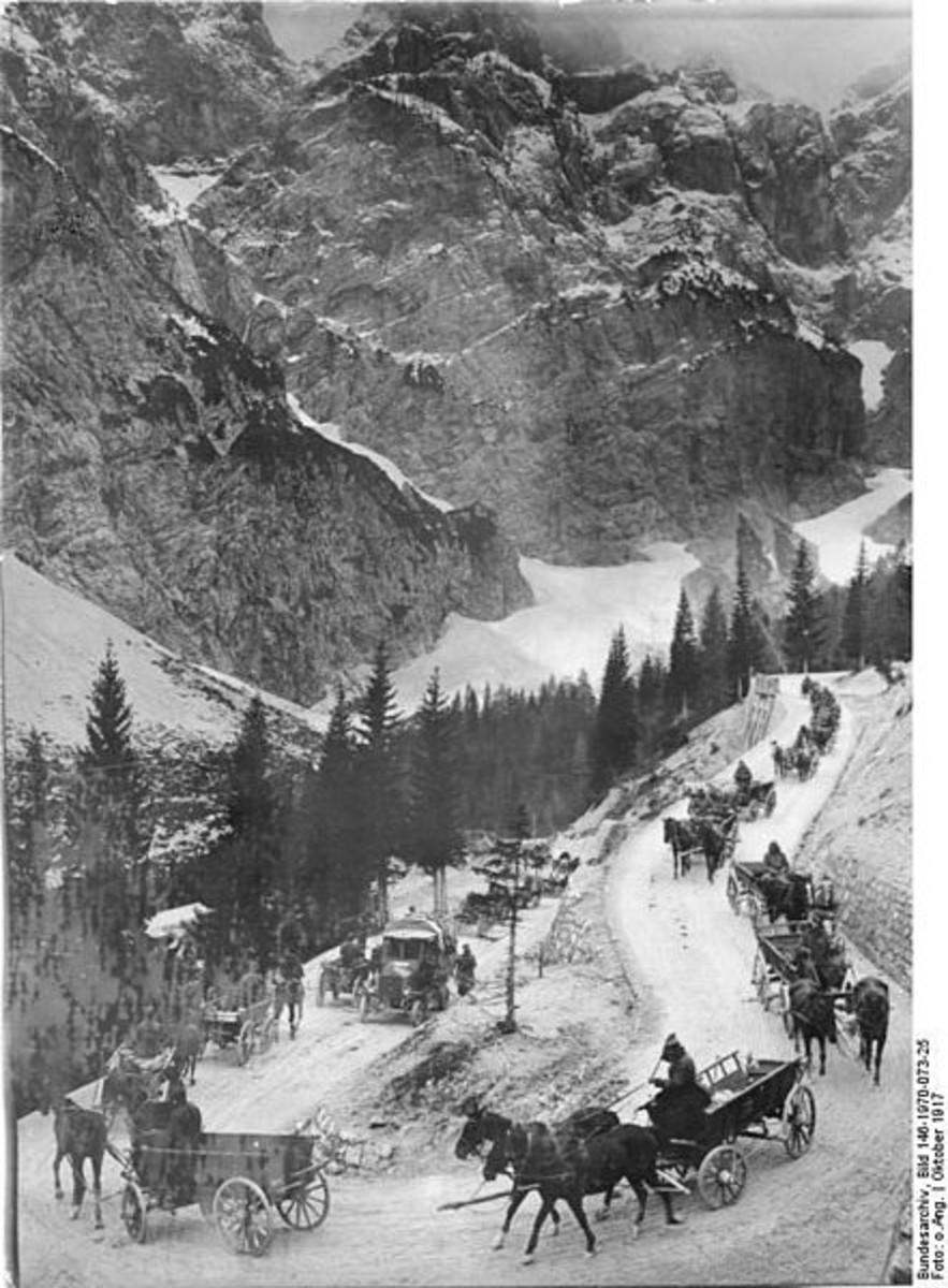 WW1: Austro-Hungarian supply line through the Alps. October 1917.