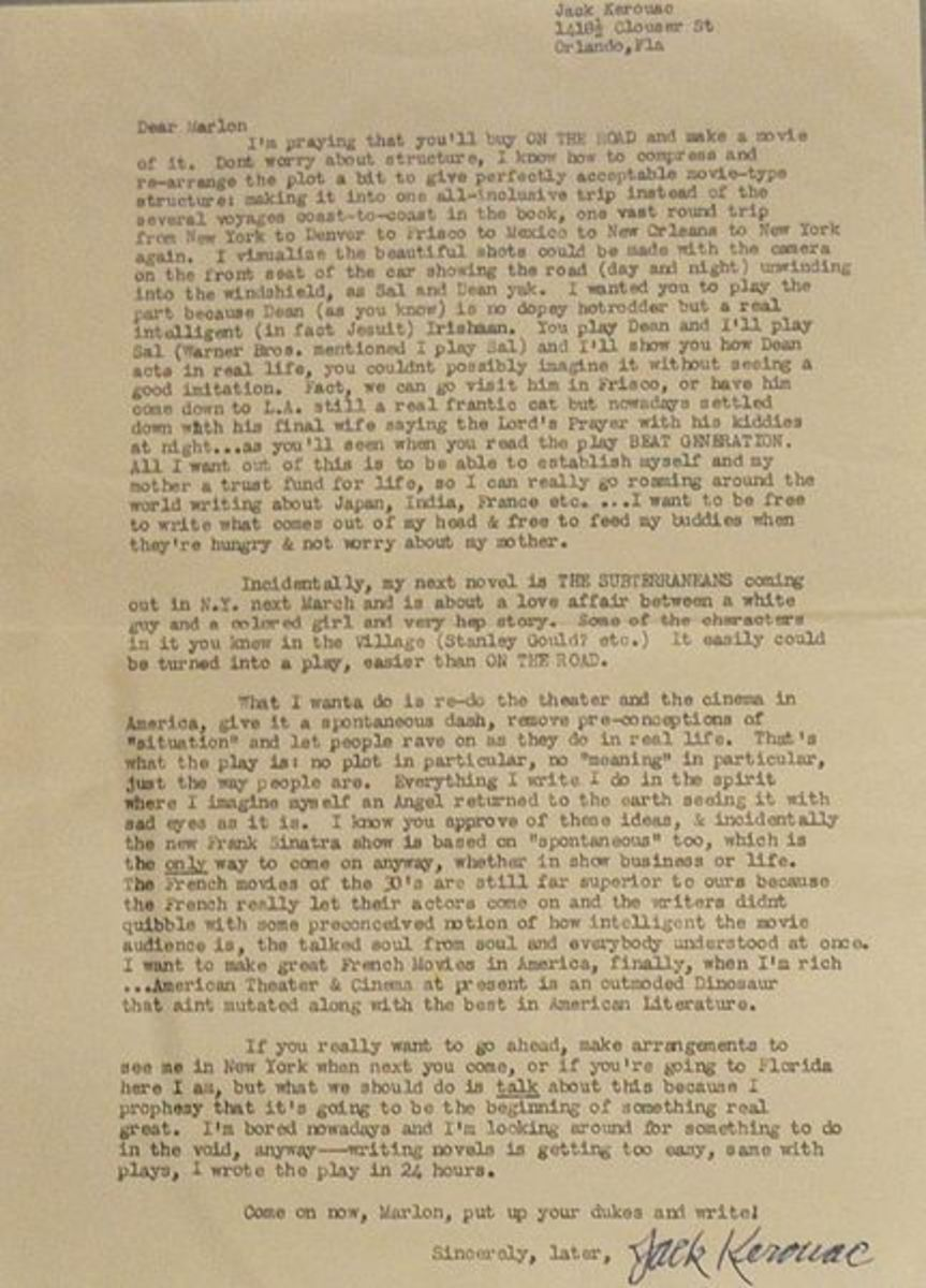 Jack's letter to Marlon Brando, asking him if he would make the movie of On The Road.