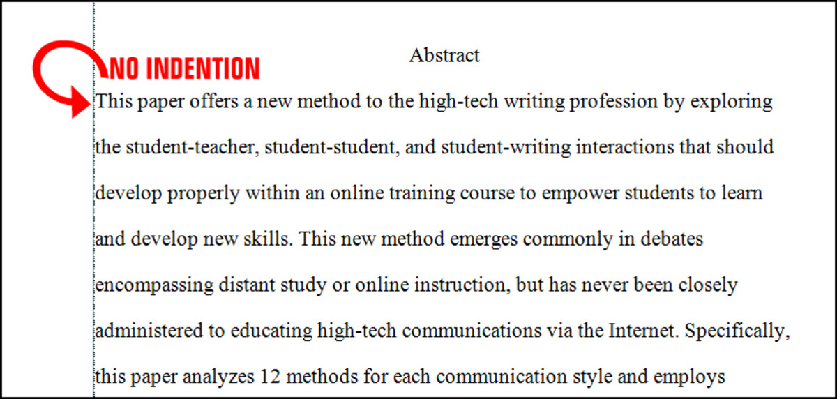 paragraph indention - Example Of Apa Style Essay