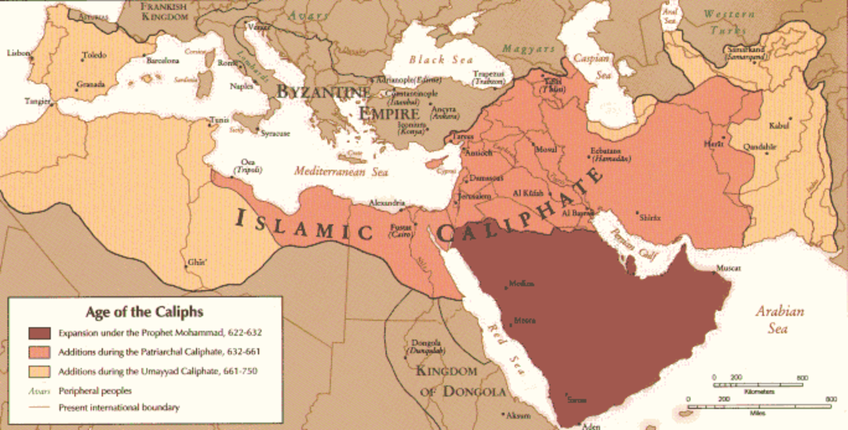 A map showing the extent of the Islamic Caliphate Empire circa 720 AD.