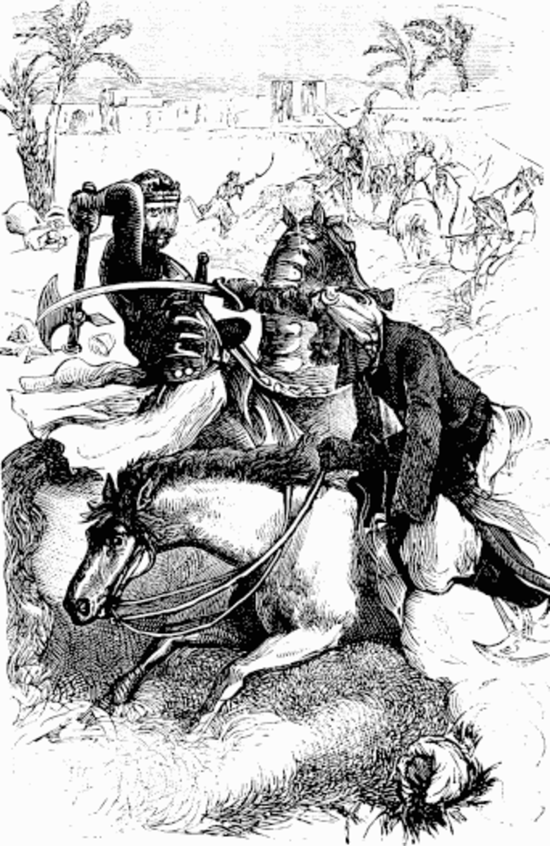 A Frankish Knight doing battle against an Arabian horseman.