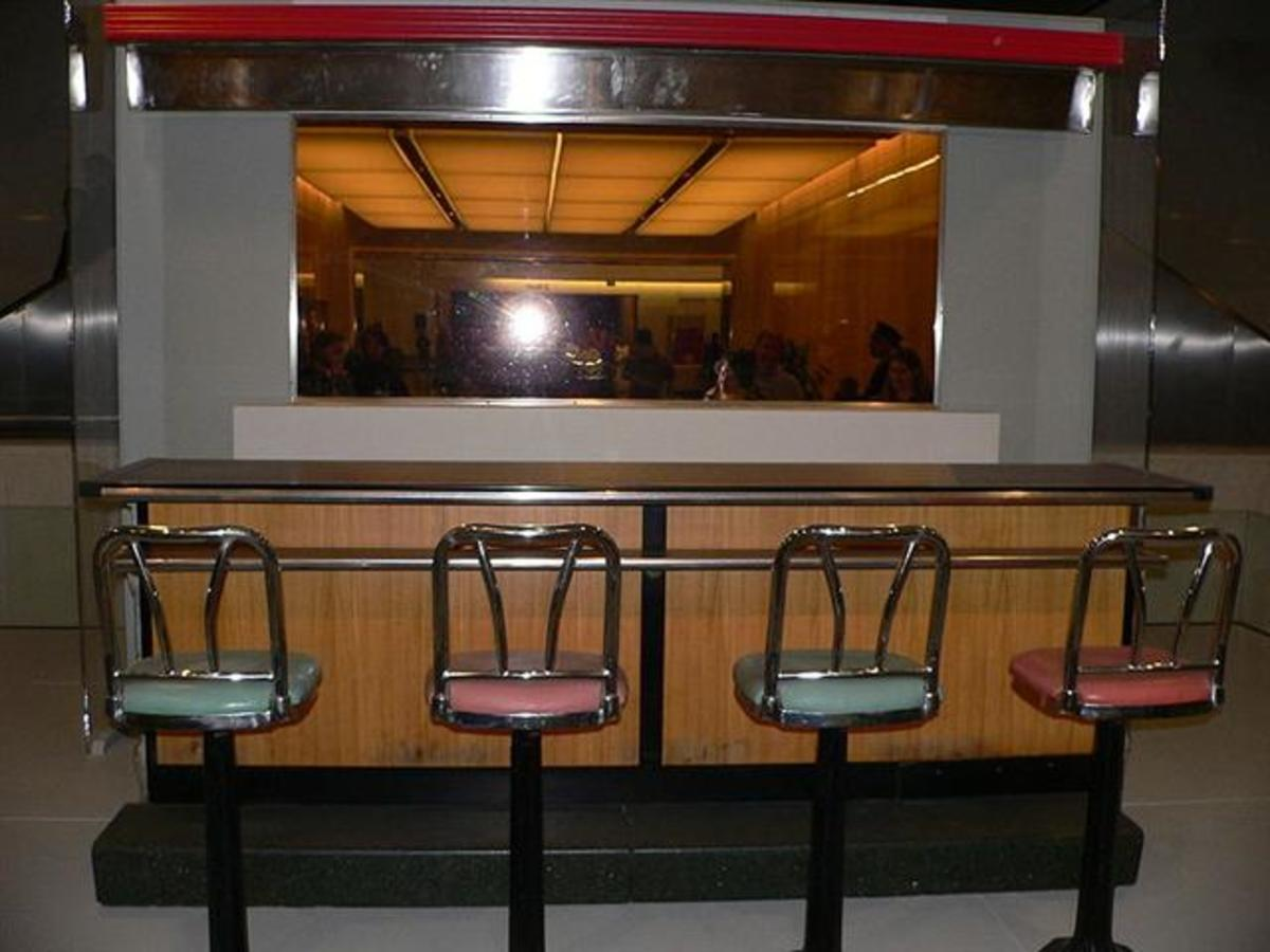 A portion of the lunch counter preserved in the Smithsonian