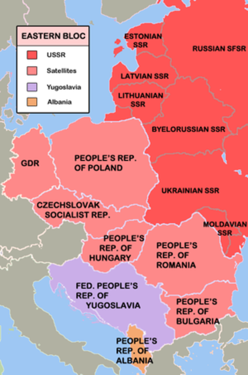 The Eastern Bloc of 'buffer states'. Yugoslavia was an independent communist nation and as such not under Soviet control.