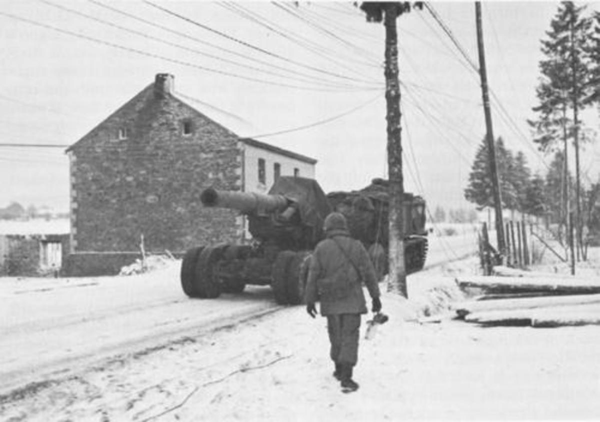 8 inch howitzer on the move during the Bulge